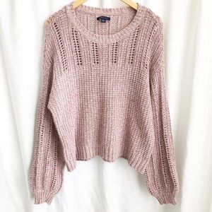 American Eagle Outfitters pink/white knit sweater